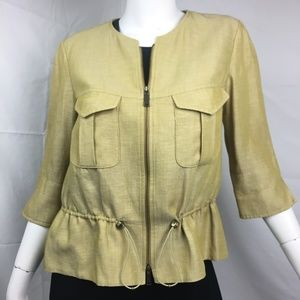 Worth 8 wool/nylon 3/4 sleeve citron zip jacket